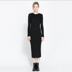 Zara long sleeve black dress M